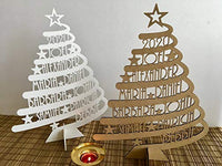 Personalized Family Name Christmas Tree Custom Xmas Gift for Family Unique Ornament Christmas Decorations Laser Cut Names Handmade Freestanding Wooden Trees White Green Tree Laser Cut Xmas Tree Plaque