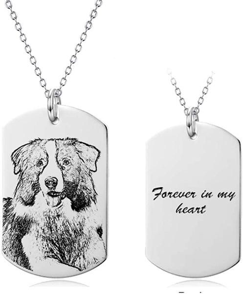 LONAGO 925 Sterling Silver Personalized Photo Necklace Custom Any Names Words Heart Rectangle Necklace Engraved Pendant Tag Family Birthday for Mom Father's Day Teacher