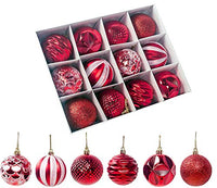 "C-POP Shatterproof Christmas Ball Ornaments Christmas Decorations Tree Hanging Balls for Xmas Tree 2.36"" 12pcs (Red)"