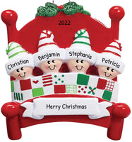 Personalized Bed Heads Family of 4 Christmas Tree Ornament 2019 - Sleepyhead Pattern Quilt Red Bedstead Strip Sleep Hat Under Mistletoe Friend Child Gift Year - Free Customization (Four)