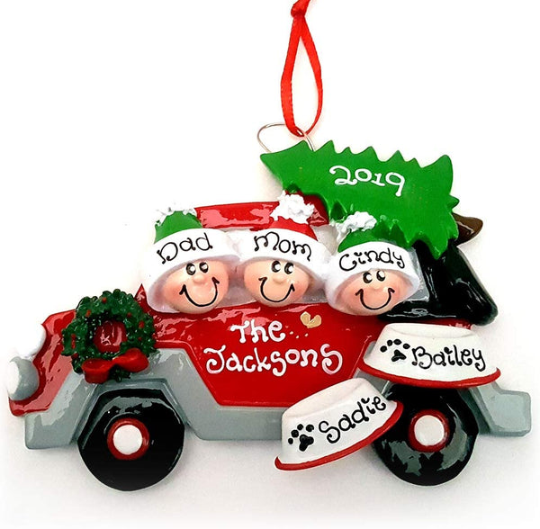 Red Car Family of 3 with 2 Dogs Personalized Christmas Ornament