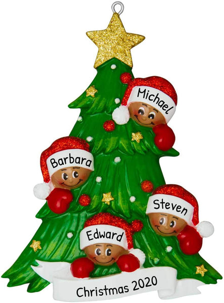 Personalized Christmas Tree with 4 African-American Faces Family Ornament 2019 - Mother Father Child Friend Garnish Bauble Tradition Holiday Foster Gift Year - Free Customization (Four Ethnic)