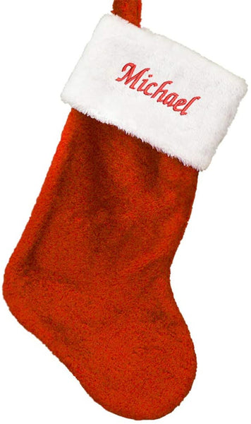 "GiftsForYouNow Embroidered Red Plush Personalized Christmas Stocking, 19"" Long"