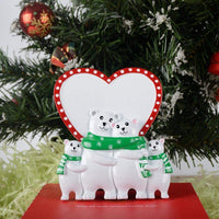 MAXORA Polar Bear Family of 4 Handmade Figurine Personalized Christmas Ornament Table Top Decorations