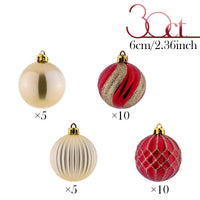 Valery Madelyn 30ct 60mm Luxury Red Gold Shatterproof Christmas Ball Ornaments Decoration,Themed with Tree Skirt(Not Included)