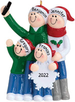 Personalized Selfie Family of 4 Christmas Tree Ornament 2019 - Mother Father Child Take Self-Portrait Photo Smartphone Share via Social Media Hug Memory Holiday Dated Year Gift - Free Customization