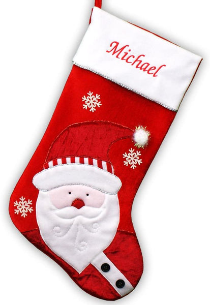 "GiftsForYouNow Santa Personalized Christmas Stocking, 24"" Long, Velvet, Embroidered"
