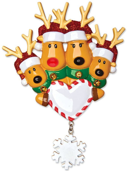 Personalized Reindeer Family of 4 Christmas Tree Ornament 2019 - Mother Father Child Deer Santa Hat Hold Heart Snowflake Tradition Kid Nose Foster Gift Friend Forever Year - Free Customization