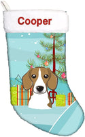Caroline's Treasures BB1611CSEMB Christmas Tree and Beagle Personalized Christmas Stocking, Large, Multicolor