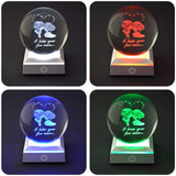 HOCHANCE 3D Sweetheart Laser Engraved Crystal Ball with LED Colorful Lighting Base,Amazing Unique Birthday Christmas Memorial Wedding Gifts for Girlfriend Boyfriend Him Her Mother Father Friendship