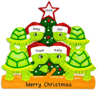 Hobby Home Accessories Personalized Turtle Family Christmas Tree Ornament Present Gift for Free Personalized (Family of 4)