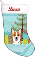 Caroline's Treasures BB1626CSEMB Christmas Tree and Red Corgi Personalized Christmas Stocking, Large, Multicolor