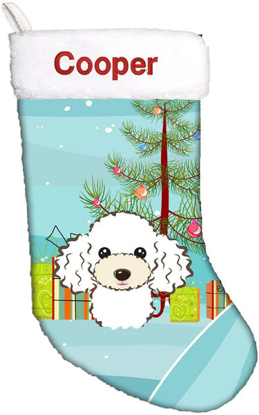 Caroline's Treasures BB1629CSEMB Christmas Tree and White Poodle Personalized Christmas Stocking, Large, Multicolor