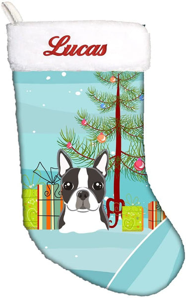 Caroline's Treasures BB1575CSEMB Christmas Tree and Boston Terrier Personalized Christmas Stocking, Large, Multicolor