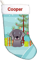 Caroline's Treasures BB1603CSEMB Christmas Tree and Weimaraner Personalized Christmas Stocking, Large, Multicolor