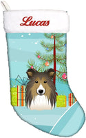 Caroline's Treasures BB1614CSEMB Christmas Tree and Sheltie Personalized Christmas Stocking, Large, Multicolor