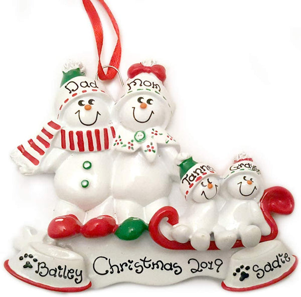 Snowman Snowmen Family of 4 with 2 Dogs Personalized Christmas Ornament