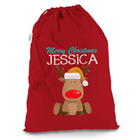 TWISTED ENVY Personalised Xmas Red Nose Reindeer X-Large Red Christmas Santa Sack Gift Bag