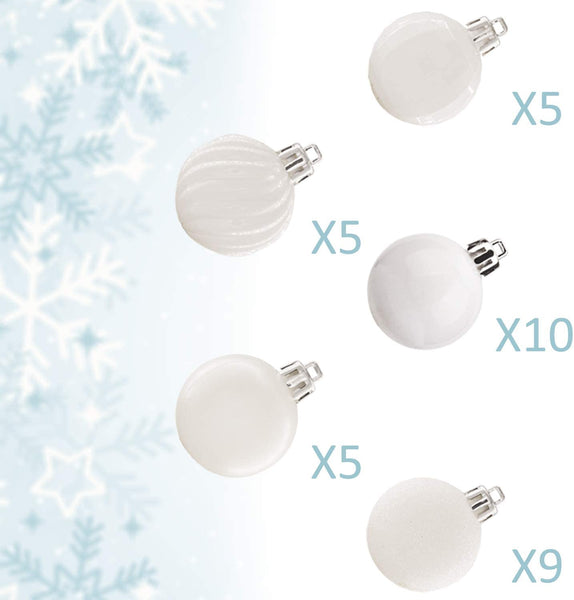 "KI Store 34ct Christmas Ball Ornaments Shatterproof Christmas Decorations Tree Balls Small for Holiday Wedding Party Decoration, Tree Ornaments Hooks Included 1.57"" (40mm White)"