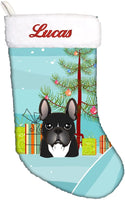 Caroline's Treasures BB1599CSEMB Christmas Tree and French Bulldog Personalized Christmas Stocking, Large, Multicolor