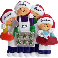 "Calliope Designs Family Baking Cookies Personalized Christmas Ornament (4 People) - 4.5"" Tall - Handpainted Resin - Free Customization"