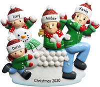 Personalized Family of 4 in Snowball Fight Christmas Tree Ornament 2020 - Mother Father Child Winter Hat Play Snow-Man Holiday Activity Foster Tradition Engrave Date Year Gift - Free Customization