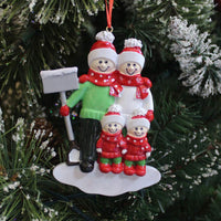 BCSmyer Personalized Family of 4 Christmas Ornaments 2019,Gift Box with Free Personalization Tool for Write Names (Family of 4)