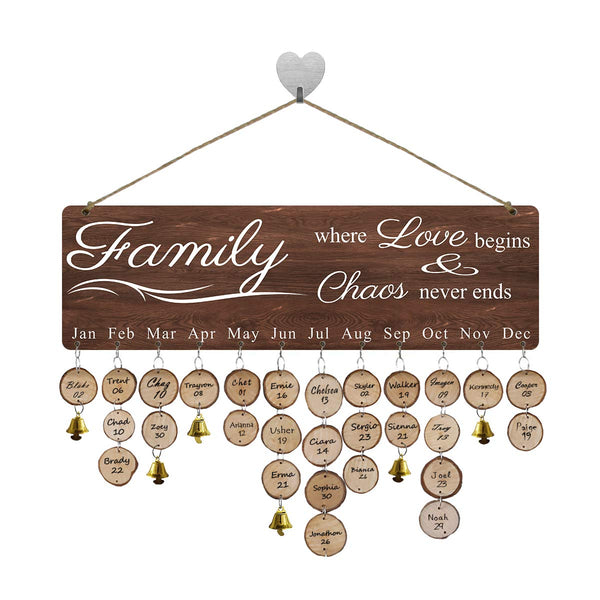 FamGift- Gifts for Moms Dads Family Birthday Calendar Reminder Board Wooden Family Birthday Tracker Organizer Board Wall Hangin Decor Personalized Birthday Present
