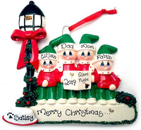 Caroler Family of 4 with 1 Dog Personalized Christmas Ornament (Sing a Song, Choir, Music)