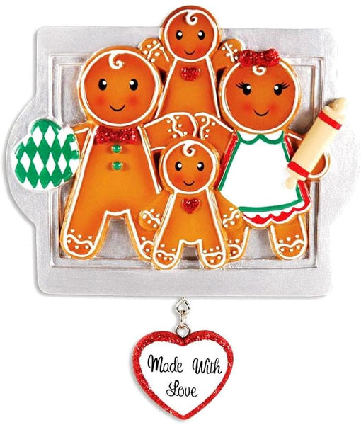 DBK Gifts Made with Love Gingerbread Family Personalized Christmas Ornament (Family of 4 Personalized Free)