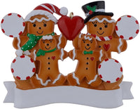 WorldWide Personalized Ornament Gingerbread Family of 4