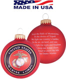 "Christmas by Krebs 3 1/4"" (80mm) Made in the USA Designer Seamless Flame Red Military Patriotic Glass Christmas Ball Keepsake Ornament, Marine Corps"