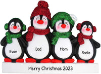 Personalized Penguin Family of 4 Christmas Tree Ornament 2019 - Happy Parents Children Friends Glitter Playful Hat Snow Cute Earmuffs Traditional Winter - Free Customization (Four)