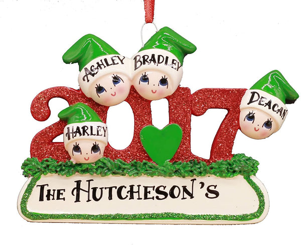 2017 Family Hand Personalized Christmas Ornament - Family of 4 (with 2 Children)