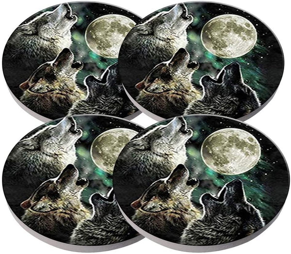 KristiPeterson Wolf Custom Fashion Personalized Exquisite Ceramic Coasters 4 Pieces Sets Of Christmas Gifts
