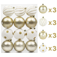 KI Store Christmas Balls 12ct Shatterproof 3.15-Inch Tree Ball Ornament Champagne Gold and White Polka Dots for Xmas Trees Parties and Holiday Decoration