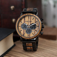 BOBO BIRD Mens Personalized Engraved Wooden Watches, Stylish Wood & Stainless Steel Combined Quartz Casual Wristwatches for Men Family Friends Customized Gift