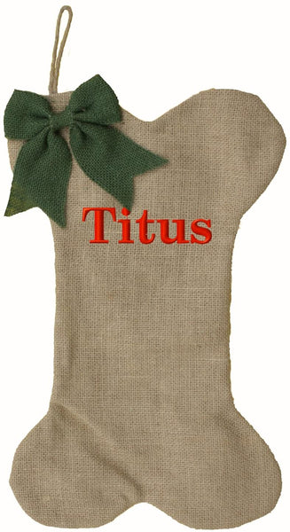 Transpac Personalized Burlap Dog Bone Christmas Stocking