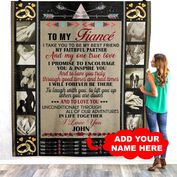 VTH Global Personalized Custom to My Fiancée Quilt Blankets Customized Christmas Birthday Wedding Anniversary Engagement Custom Fiancee Gifts from Electrical Journeyman Lineman Husband Fiance