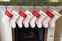 Personalized Christmas Stocking | Red & Warm White Classic Whimsical Design