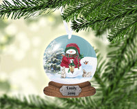 Snow Globe Snowman Christmas Ornament, Personalized Ornament, Custom Christmas Holiday, Name Ornament, Kids, Secret Santa Gift, Family Gift