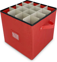Christmas Ornament Storage - Stores up to 64 Holiday Ornaments, Adjustable Dividers, Covered Top and Two Handles. Attractive Storage Box Keeps Holiday Decorations Clean and Dry for Next Season.