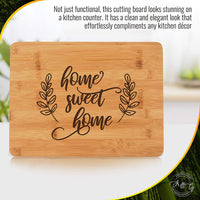 "Engraved Cutting Board - Home Sweet Home: a Perfect Gift for Housewarming or as a Closing Gift from a Realtor, 8"" by 12"" Bamboo Cheese Board"