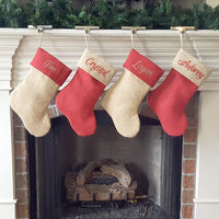 Personalized Christmas Stocking in Natural and Red Burlap