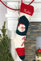Personalized Christmas Stocking Hand Knit Bernat Santa