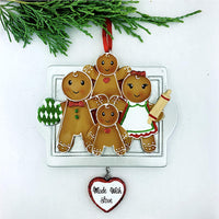 Personalized Gingerbread Cookies Family of 4 Christmas Ornament