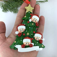 Cozzies Personalized Smiling Faces On Christmas Tree Family of 4 Ornament