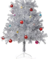Wellwood 6 ft Silver Tinsel Christmas Tree with 24ct Assorted Ornament Set and Metal Stand, Easy Assembly