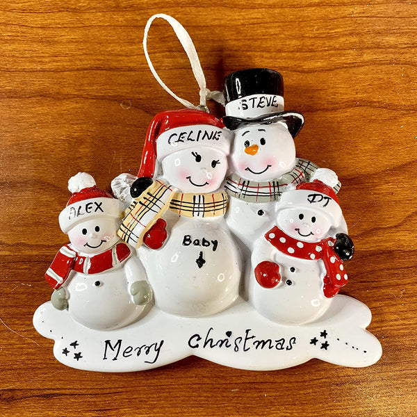 Cozzies Personalized Expecting Family Christmas Ornament, Baby Expecting Snowmen Ornament, Pregnant Mom (4 Family)