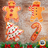 Gingerbread Christmas Ornaments - Man Boy Girl Tree Candy Cane Cookie Rustic Christmas Decorations Set of 4 - Claydough Christmas Tree Decorations - Christmas Tree Ornaments With Gift Box